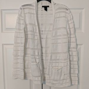 White, open front cardigan sweater